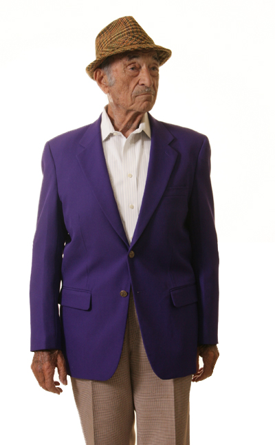 man's purple blazer