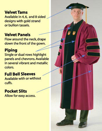 Doctoral Regalia. Doctoral Gowns (robes), PhD gowns, academic hoods ...