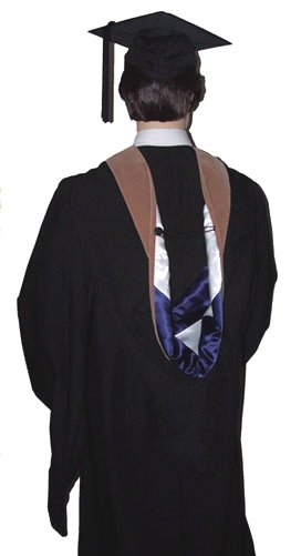 academic graduation hood, rear view, MBA masters, with graduation gown, mortarboard and tassel