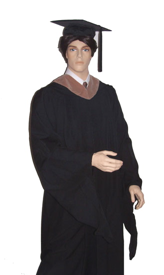 master's academic graduation gown, mortarboard, tassel and hood